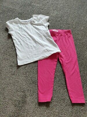 Girls 2-3 Years Outfit Pink Leggings White Top Bluezoo Primark