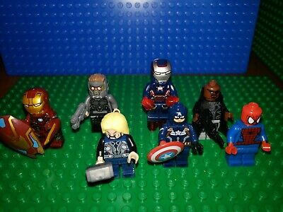 Marvel AVENGERS MINIFIGURES IRONMan lot 210 War Machine Spiderman Thor fit legos