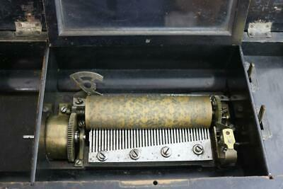 ANTIQUE CYLINDER MUSIC BOX no handle 8 AIR plays nicely manually RESTORE clock w