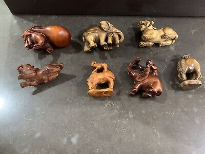 Chinese Wooden Hand Carved Animals Foo Dog Rabbit Horse