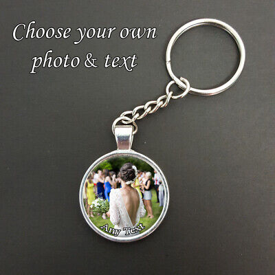 Personalised Any Photo & Text Pendant On A Split Ring Keyring Ideal Gift N442