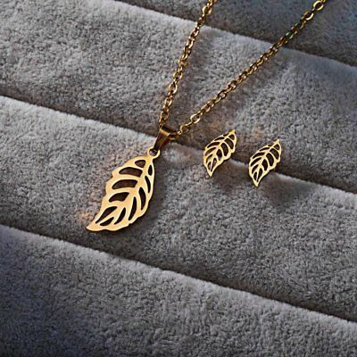 Women Stainless Steel Jewelry Sets Hollow Leaf Pendant Chain Necklace Earrings