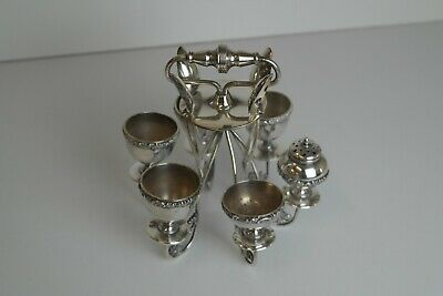 Vintage Silver Plated Egg Cruet Set Stand 4 Egg Cups & Spoons Condiments
