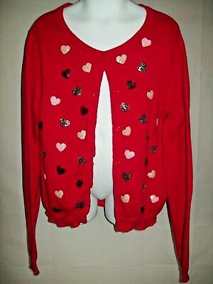 H&M Girls Sweater Size 6 Cardigan Red Sequin Hearts Casual School Holiday
