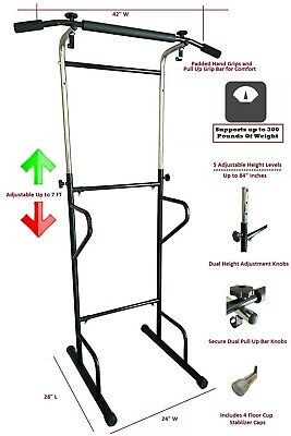 Pull Up Bar Dip Station Power Tower Chin-Up Bar Dip Stand Exercise Machine Gym