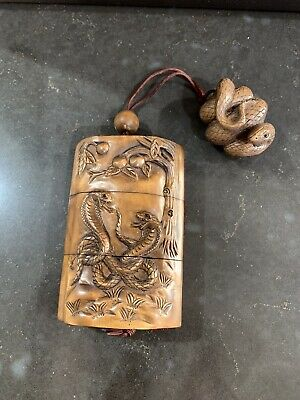 Inro - Japanese Wooden Snake Inro Beautiflly Carved With Netsuke