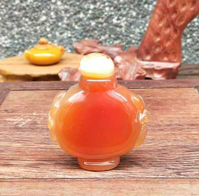 Natural Agate Jade Hand-Carved Statue Snuff Bottles Exquisite 021