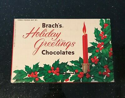 Collectible Mid-Century Vintage Brach's Holiday Greetings Chocolates (Empty) Box