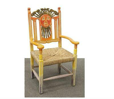 Vintage Unique Mexican Carved & Hand Painted Ombre Sun Rush Seat Armchair