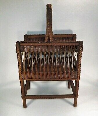 Antique Magazine Rack Wicker Circa 1910 Hand Woven & Braided Orig Brown Paint