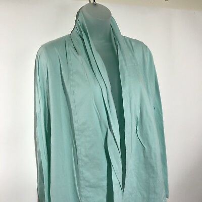 Lands End Womens Open Front Cardigan Size Large Green 100% Cotton Light Weight