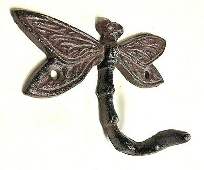 SET OF 6 DRAGONFLY HOOKS rustic brown cast iron hooks for bathroom kitchen