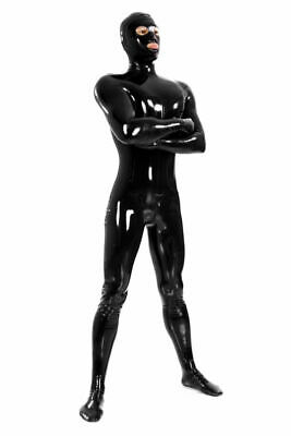 Rubber Catsuit 100% Latex Black Mask Full Cover Bodysuit Party Suit Size S-XXL