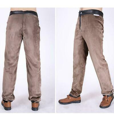 Classic mens Warm faux leather fur lined thick straight pants knight trousers