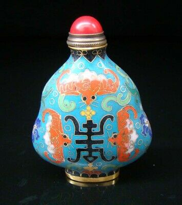 Collectibles 100% Handmade Painting Brass Cloisonne Enamel Snuff Bottles 084