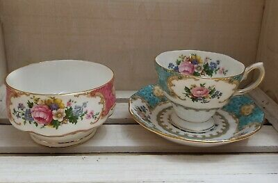 Royal Albert Lady Ascot tea cup and saucer with Lady Carlyle sugar bowl