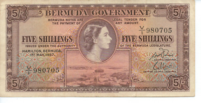 BERMUDA GOVERNMENT - 1957 - FIVE SHILLINGS BANK NOTE in very good condition