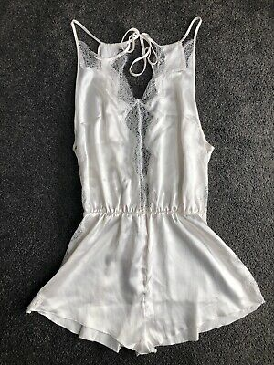 New With Tags Victoria's Secret Bridal Wedding White Satin Lace Romper Playsuit