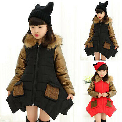 Kids Girls Warm Padded Coat Quilted Jacket Puffer Fur Hooded Long Parka Overcoat