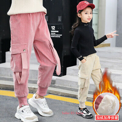 Kids Girls Casual Warm Corduroy Cargo Pants Fleece Lined Winter Thermal Trousers