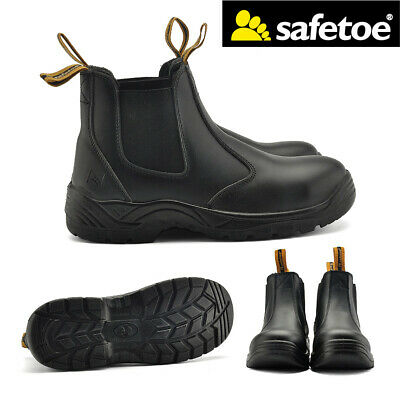 Safetoe Safety Work Boots Mens Steel Toe Shoes Leather Water Resistant Slip on