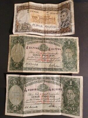 AU - TEN SHILLINGS BANK NOTE & 2x different ONE POUND BANK NOTES