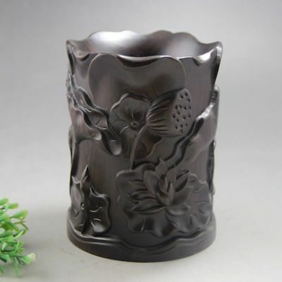 Chinese antique hand carved hardwood lotus brush pot very beautyful