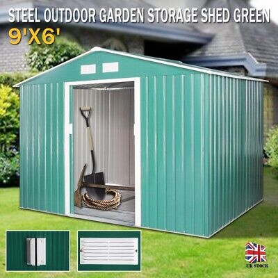 9X6 Large Garden Shed Metal Apex Roof Outdoor Storage With Free Foundation Green