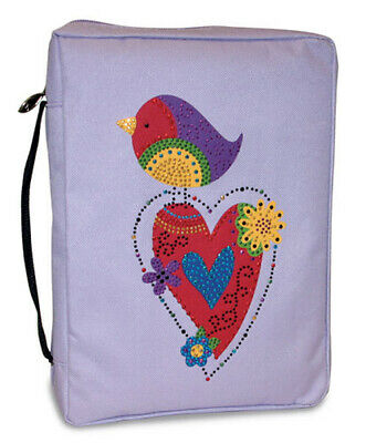 SPECIAL OFFER- Bling Bird/Heart Bible Cover- Ex Large 7.25 x 10.1 x 2.25- D21064