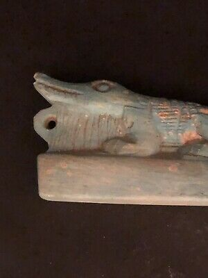 Rare Ancient Egyptian Faience Amulet Sobeck Pendant -26th DYN 680 Bc