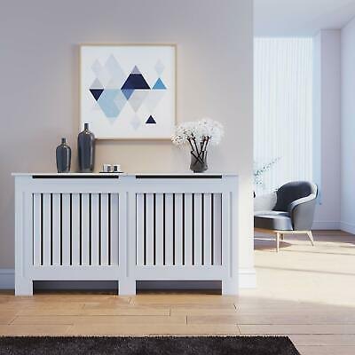 Radiator Cover Cabinet White Modern MDF Slat Wood Grill Furniture Wall Shelves