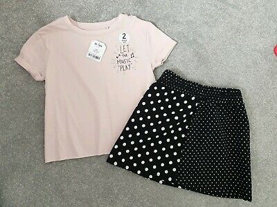 Girls New Next 2 Piece Outfit BNWT Age 4 Years Skirt and Top