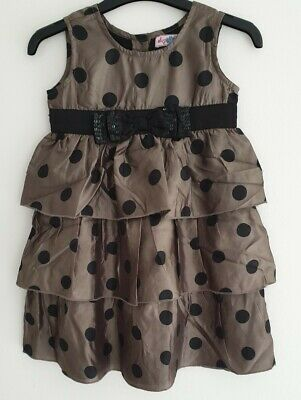 Girls Brown / Black Spot Bow Dress, Sugar Pink, Age 5-6 Yrs, Boutique
