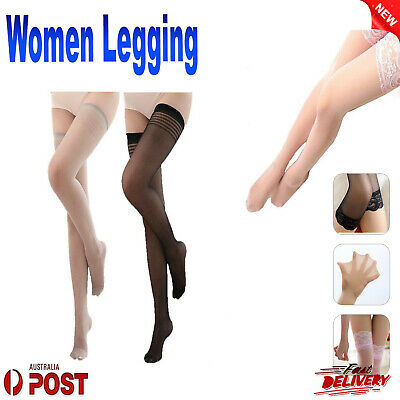 Sheer Lace Top Sexy Women Non slip Thigh High Stockings / Striped Stockings New
