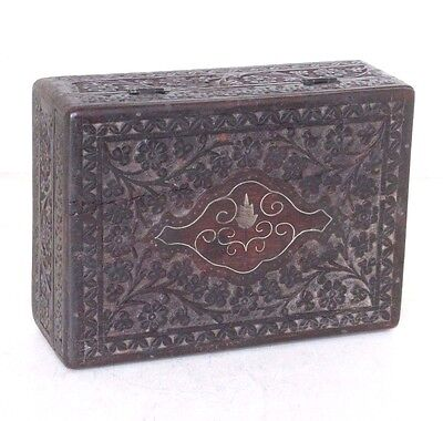 1920's Old Antique Beautiful 2 Compartments Hand Carved Floral Design Wooden Box