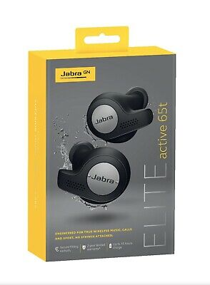 NEW Genuine Jabra Elite Active 65t Titanium Black Wireless Earbuds Charging Case