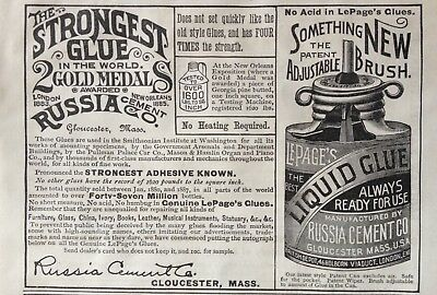 1888 Ad(1800-1)~Russia Cement Co. Gloucester, Mass. Strongest Glue Known