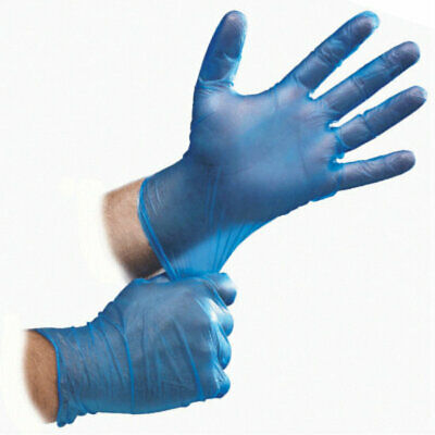 Blue Vinyl Disposable Gloves Latex & Powder Free Medical Surgical - Food Safety