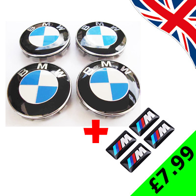 4 x Alloy Wheel Centre Hub Caps for BMW 68mm 1 3 5 7 Series + 4 M SPORT STICKERS