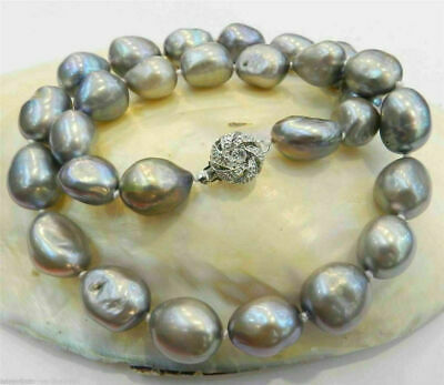 Large 8-9mm Silver Gray Real Baroque Cultured Pearl Necklace 18''