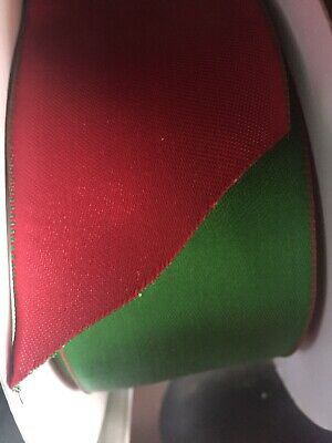Gift ribbon, wire edged, double sided satin ribbon in Red and Green 6cm x 5m
