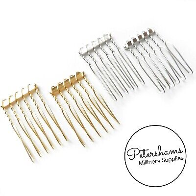 Mini Plated Metal Hair Combs for Birdcage Veils and Fascinators