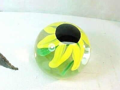 FREE STATE SIGNED 1999 Studio Glass Crystal Handmade Paperweight  Sunflower