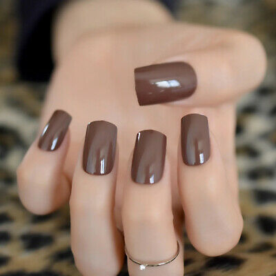 Faux Ongles Marron Chocolat Capsules Tips A Coller Nail Art Manucure Man913