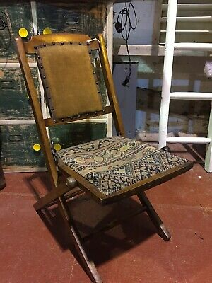 Antique Old Campaign Child Folding  Chair
