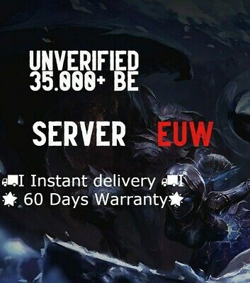 League Of Legends Account LOL Euw Smurf 35,000+ BE IP Unranked Level 30