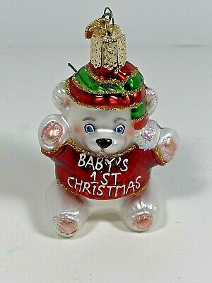 """Baby's 1st Teddy Bear"" Red Old World Christmas Glass Ornament"