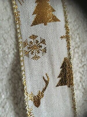 Xmas Ribbon .gold Stag /Xmas Tree  ! Ten Meter Roll . Wired Edge. Linen Feel