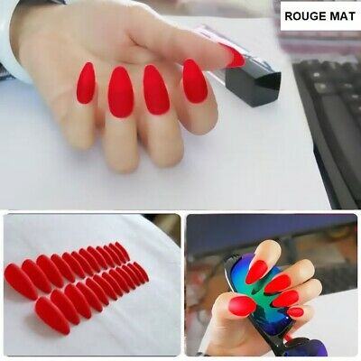 Faux Ongles Stiletto Pointu Rouge Mat Capsule Tips Nail Art Manucure Man919