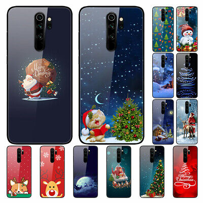 For Xiaomi Redmi 8A 7A Note 8T 7 Pro Christmas Painted Tempered Glass Case Cover